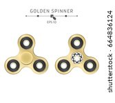 realistic golden spinner on a... | Shutterstock .eps vector #664836124