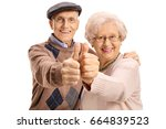 cheerful mature couple making a ... | Shutterstock . vector #664839523