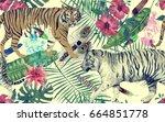 seamless watercolor pattern... | Shutterstock . vector #664851778