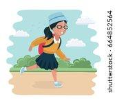 vector funny illustration of... | Shutterstock .eps vector #664852564
