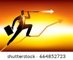 silhouette of a businessman... | Shutterstock .eps vector #664852723