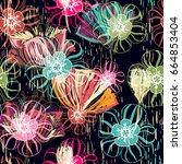 floral seamless pattern ... | Shutterstock . vector #664853404