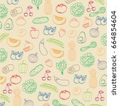 pattern with fruits and... | Shutterstock .eps vector #664854604