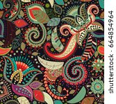 paisley floral seamless pattern.... | Shutterstock . vector #664854964