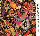paisley floral seamless pattern.... | Shutterstock . vector #664854970