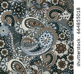 paisley floral seamless pattern.... | Shutterstock . vector #664855018