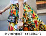 milan   june 17  woman with... | Shutterstock . vector #664856143
