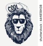 hipster lion vector... | Shutterstock .eps vector #664858438