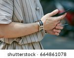 milan   june 17  man with... | Shutterstock . vector #664861078