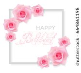 vector greeting card with pink... | Shutterstock .eps vector #664861198
