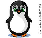 happy cute penguin character on ...   Shutterstock .eps vector #664861759