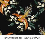 embroidery colorful floral... | Shutterstock .eps vector #664864924