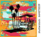 lifeguard tower on the beach... | Shutterstock .eps vector #664870039