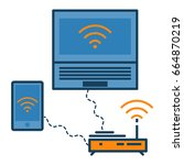wireless devices connected to... | Shutterstock .eps vector #664870219