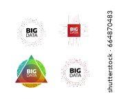 big data minimal flat icon set. ... | Shutterstock .eps vector #664870483