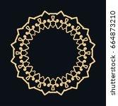 golden round ornament  frame ... | Shutterstock .eps vector #664873210