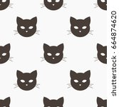 cat head seamless pattern.... | Shutterstock .eps vector #664874620