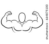 bodybuilder muscle flex arms... | Shutterstock .eps vector #664875100