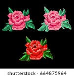 peony flower embroidery. | Shutterstock .eps vector #664875964
