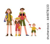 happy parents with kids on... | Shutterstock .eps vector #664878133