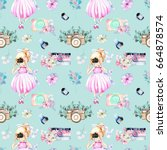 seamless pattern with... | Shutterstock . vector #664878574