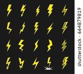 lightning strikes icon set.... | Shutterstock .eps vector #664879819