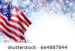 Usa Flag With Fireworks...