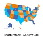 political map of usa  united... | Shutterstock .eps vector #664895038