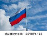russian national flag against...   Shutterstock . vector #664896418