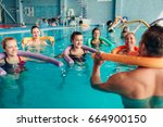 aqua aerobics  healthy water... | Shutterstock . vector #664900150