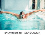 Athletic Swimmer Swims In...
