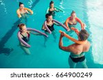 aqua aerobics  healthy water... | Shutterstock . vector #664900249