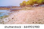 Small photo of Fisher Boats at low tide near seaweed plantations algal by noon - Nusa Penida, Bali, Indonesia