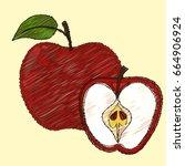 fruit apples  | Shutterstock .eps vector #664906924