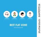 flat icon center set of... | Shutterstock .eps vector #664909516
