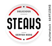 steaks vintage stamp vector | Shutterstock .eps vector #664910848