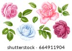 Stock vector vector floral set of pink red blue white vintage rose flowers green leaves isolated on white 664911904