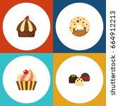 flat icon bakery set of... | Shutterstock .eps vector #664912213