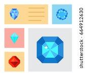 flat icon diamond set of jewel  ... | Shutterstock .eps vector #664912630