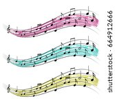 musical notes ribbon  graphic... | Shutterstock .eps vector #664912666