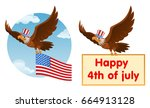 flying american eagle in the... | Shutterstock .eps vector #664913128