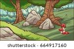 cartoon forest background.... | Shutterstock .eps vector #664917160