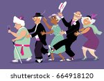 group of active seniors dressed ... | Shutterstock .eps vector #664918120