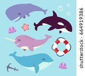 vector blue whale  sperm whale  ... | Shutterstock .eps vector #664919386