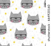 seamless pattern with cute... | Shutterstock .eps vector #664920160