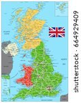 united kingdom political map... | Shutterstock .eps vector #664929409