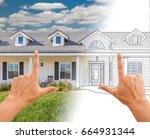 female hands framing house... | Shutterstock . vector #664931344