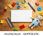 child or baby play set with... | Shutterstock . vector #664936156