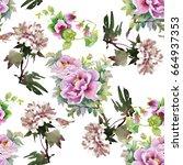 floral tile summer texture... | Shutterstock . vector #664937353