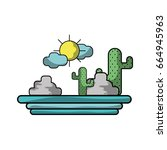 cactus with sun natural aventure | Shutterstock .eps vector #664945963